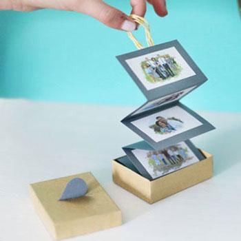 Harmonika fotóalbum papírból dobozban - kreatív ajándék