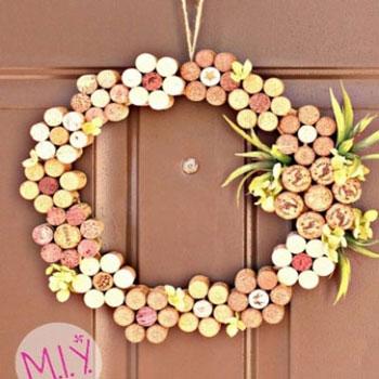 Nyári virág koszorú parafadugóból egyszerűen