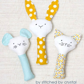 DIY baby rattles (cat,mouse,bunny) - free sewing pattern