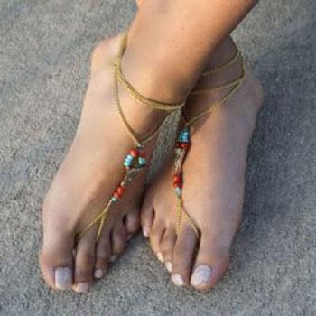 Nyári gyöngyös mezítlábas szandál (bokalánc) - lábékszer