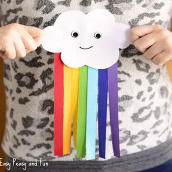 Szivárványos esőfelhő papírból - kreatív ötlet gyerekeknek