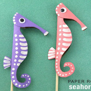 DIY Toilet paper roll seahorse - summer craft  for kids