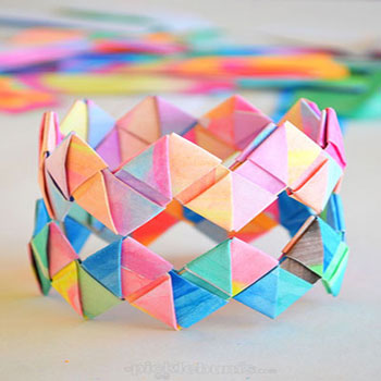 How to make folded  paper (origami) bracelets - craft for kids