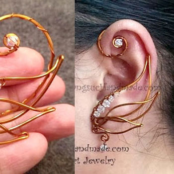 DIY Angel wing ear cuff - How to make wire jewelry
