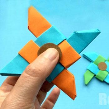 Nindzsa dobócsillag Fidget pörgettyű papírból egyszerűen