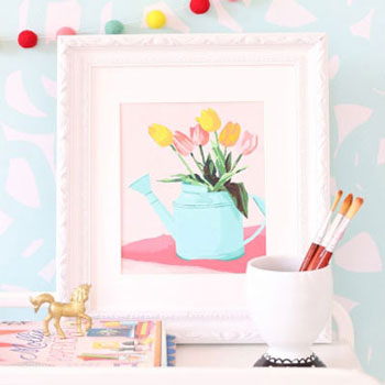 Tulips in a watering can - free printable paint by number
