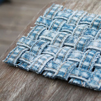 DIY Woven denim jeans seam coasters - recycling craft