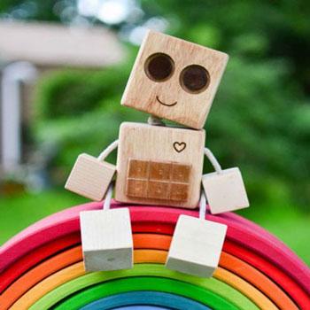 Robot fa kockákból - gyerekjáték fából (barkácsolás)