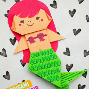 DIY Cute origami mermaid - paper folding for kids
