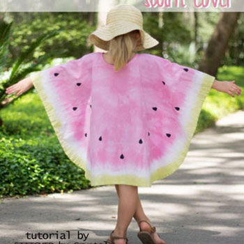 DIY Tie-dye watermelon swim cover (free sewing pattern)