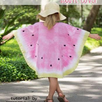 Egyszerű nyári dinnye poncsó (strandruha) - ingyenes szabásminta