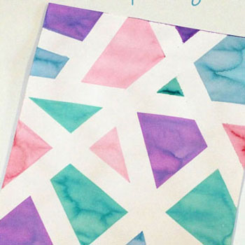 DIY Geometric painting with masking tape (tape resist painting)