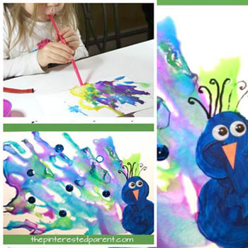 DIY Straw blown peacock painting - kids craft idea