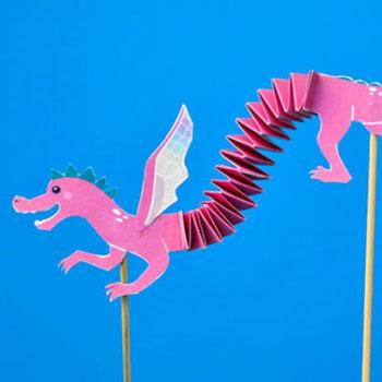 Mozgatható papír sárkány báb harmonika hajtással egyszerűen
