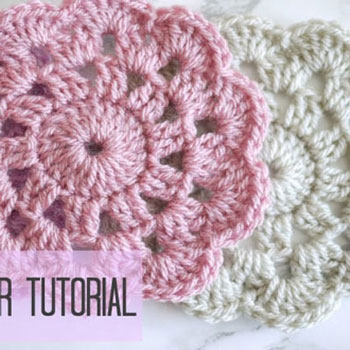 How to crochet a simple flower coaster - crochet for beginners