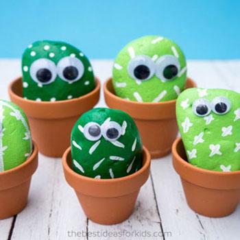 Kavics kaktusz pajtik - kőfestés gyerekeknek