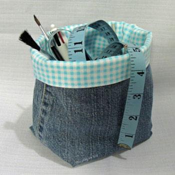 Tároló kosarak farmer nadrágból - kreatív újrahasznosítás