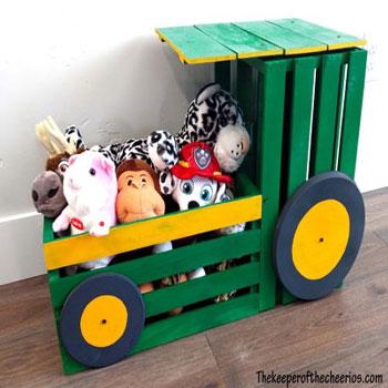 Traktor alakú játéktároló faládákból - kreatív gyerekszoba dekoráció