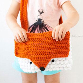Egyedi aranyos horgolt róka táska - ingyenes horgolásminta