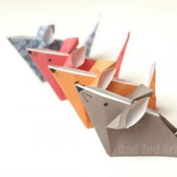 Egyszerű origami egérkék - papírhajtogatás gyerekeknek