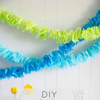 DIY Ruffled tissue paper garland - easy party decor