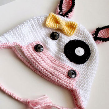 Free adorable crochet cow hat pattern