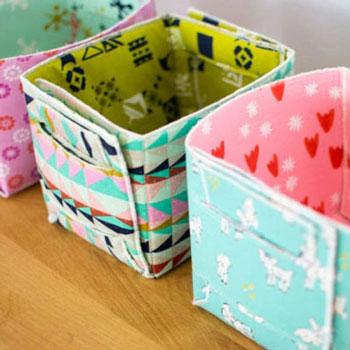 Összecsukható kicsi textil tároló dobozok (ingyenes szabásminta)