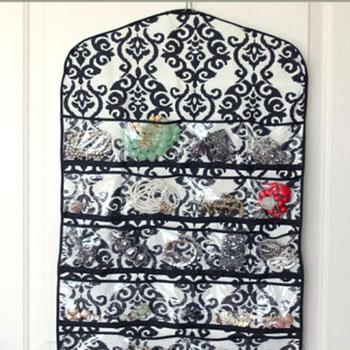Textil ékszer rendszerező átlátszó zsebekkel (varrási útmutató)