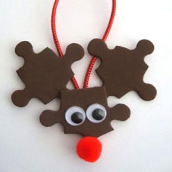 Puzzle rénszarvas Rudolf - karácsonyfadísz kirakósból