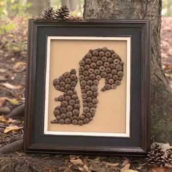 Mókusos kép makkokból - egyszerű őszi dekoráció