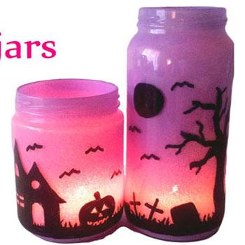 Halloween lámpások egyszerűen befőttes üvegből alkoholos filccel