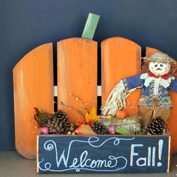 Őszi tökös köszöntő tábla - őszi dekoráció fából