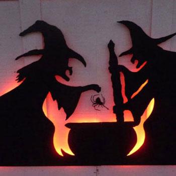 Halloween ház dekoráció karton papírból led világítással