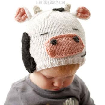Kötött tehén sapka gyerekeknek (ingyenes kötésminta)