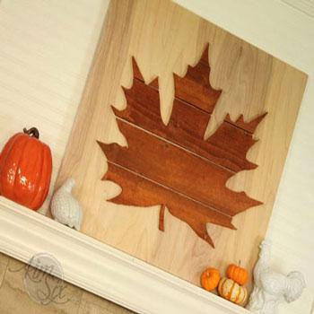 Őszi faleveles dekoráció fából (falikép)