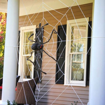 Giant rope spiderweb - outdoor Halloween decor