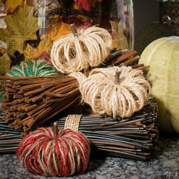 Szizál kötél tökök - őszi dekoráció fonalból