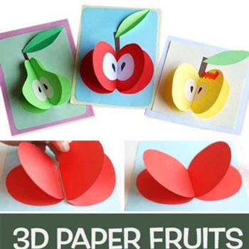 Egyszerű térbeli papír gyümölcs képeslap gyerekeknek (alma,körte)