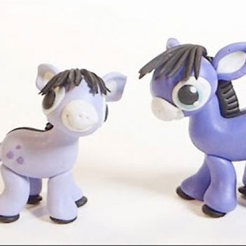 Purple donkey - step-by-step polimer clay tutorial