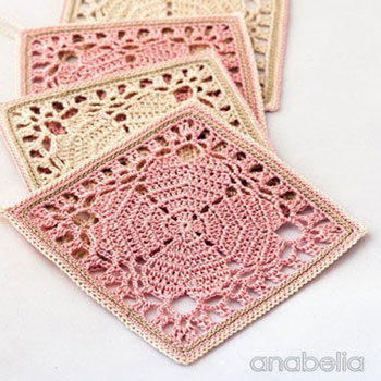 Shabby chic style crocheted coaster