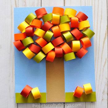 Egyszerű térbeli őszi fa színes papírból gyerekeknek