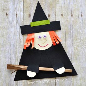 Aranyos boszi papírból gyerekeknek - Halloween ötlet