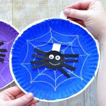 Mozgatható denevéres papírtányér kép - Halloween ötlet gyerekeknek