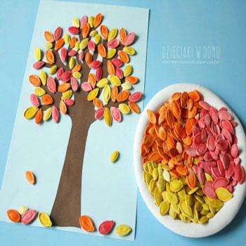 Őszi fa kép gyerekeknek színes tökmag levelekkel