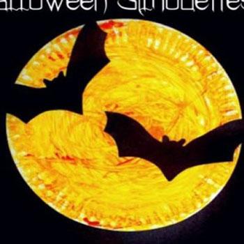 Halloween árnykép dekoráció papírtányérból gyerekeknek