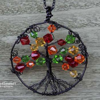 Őszi életfa medál - drótékszer készítés egyszerűen