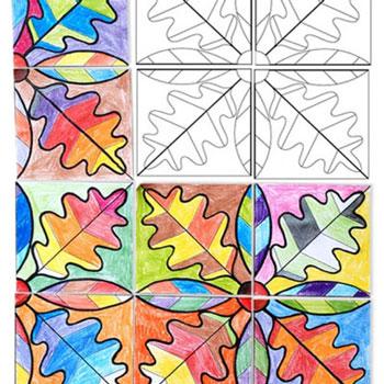 Őszi papír falevél mozaik (nyomtatható sablonnal)