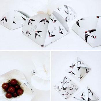Egyszerű fészek ajándékdobozok (nyomtatható doboz és fecske minta sablon)
