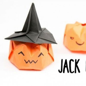 Origami pumpkin witch - Halloween paper craft for kids