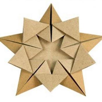 Egyszerű origami karácsonyfadísz csillag papírból